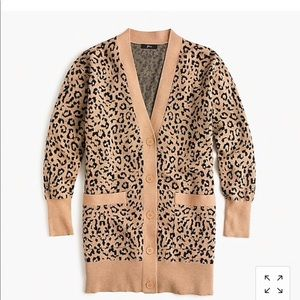 XS J crew cardigan sweater in leopard jaquard